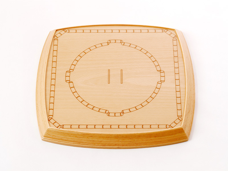 青森県のブナで作った特製「土俵」型お盆